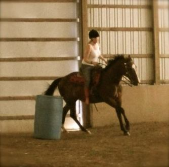 Melody & I barrel racing